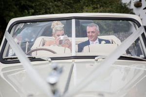 Mr & Mrs Godfrey 24.9.16 arriving at Keynsham church