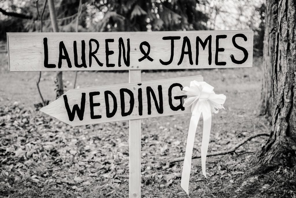 Lauren & James wedding sign